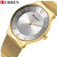 Clásico de la manera CURREN superior de la marca de lujo de diseño de cuarzo relojes de los hombres de acero de banda completa Reloj Hodinky Relogio Masculino