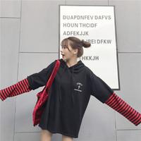 Kadınlar Hoodies Sweatshirt Harf Baskı Uzun Kollu Casual Kısa Kapşonlu Kazak Süveter Sahte İki Adet Çizgili Patchwor