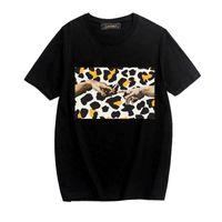 2020 남성 디자이너 고급 T 셔츠 재미 표범 인쇄 패션 라운드 넥의 남성과 여성의 T 셔츠 봄과 여름 트렌드 힙합 T 셔츠