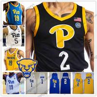 맞춤형 피츠버그 팬더 2020 피트 농구 블랙 블루 화이트 옐로우 1 Xavier Johnson 2 Trey McGowens 24 Ryan Murphy 남자 청소년 유니폼