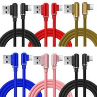 90 Derece Dirsek Tipi C Mikro USB Kablosu 1 M 3FT 2.4A Hızlı Şarj USB C Kabloları Samsung S6 S7 S8 S10 Huawei LG