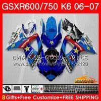 신체 Suzuki GSX R600 GSX-R750 GSXR-600 공장 블루 GSXR600 06-07 8HC.14 GSX R750 GSXR 600 750 06 07 K6 GSXR750 2006 2007 페어링 키트