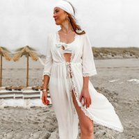 Bikini donna Coprire Solid White Dress Hollow Out Beach Estate Chiffon Swimwear Women Bathing Cover Up Sexy costume da bagno Tunica