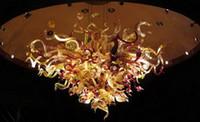 Venta al por mayor restaurante de Iluminación en venta soplado fuente de luz LED Inicio arte decorativo italiana Dale la mano la lámpara de cristal