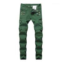 Slim Mid taille Hommes Jeans Armée Vert Poches Hommes droites Jeans à la mode Zipper Homme Vêtements ridé