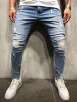 Moda Erkek Jeans Beyaz Çizgili Skinny Denim Pantolon Fermuar Kalem Pantolon S-3XL Artı boyutu Biker Jeans