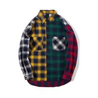 Personalidad Versión coreana de la tendencia de concordancia de color de la franela Hombres camiseta Slim Fit camisas de tela escocesa ocasionales de Hip Hop larga floja Slee