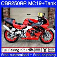 Injectievorm voor Honda CBR 250RR MC19 Cowling Hot Rood CBR250RR 1988 1989 Body 261hm.41 CBR 250 RR 250R CBR250 RR 88 89 FUNLING KIT + TANK
