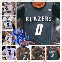 사용자 정의 시에라 캐년 고등학교 농구 화이트 그레이 0 Bronny James 2 자이르 웨이드 3 BJ 보스턴 Jr. Trailblazers 남자 청소년 아이 유니폼