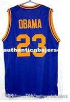 Factory Outlet Günstige individuelle hochwertige 23 BARACK OBAMA High School Basketball-Trikots Blau Weiß Retro Throwbacks genähtes Personalisierte Cu