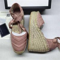 Женщины Кожа Клин платформа эспадрилья Matelassé мода кожи Grosgrain шнур Платформа Сандал телячього Холст пятка Пятка Дизайнерская обувь