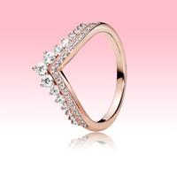 18k Rose Gold Überzogene Weding Ring Frauen Mädchen Prinzessin Wunsch Ringe für Pandora 925 Sterling Silber CZ Diamond Ring Set mit Original Box