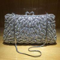 Abendtaschen Ankunft Silber Metall Schulter Handtaschen Mode Frauen Strass Kristall Clutch Geldbörse Kette Prom Party Tasche