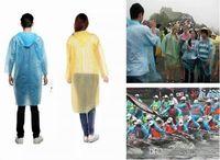 3000pcs / lot 일회용 PE 비옷 성인 일회용 긴급 방수 후드 Poncho 여행 캠핑 비옷 야외 레인웨어