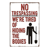No Trespassing Vintage métal affiche signe pour Tin Man Cave Garage minable sticker mural chic et la décoration intérieure Cafe Bar