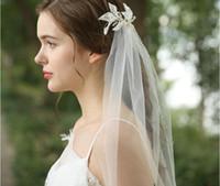 패션 아이보리 진주 신부 베일 1.5m 컨트리 웨딩 베일 빗 낭만적 인 Boho Tulle 베일 2020 아이디어 신부 머리 크라운 베일 저렴한