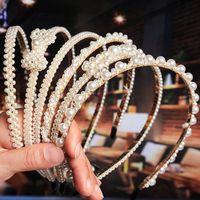 Novo Luxo Big Pérola Headband Bow Mulheres girassol aros Meninas Cabelo Acessórios de Moda Jóias accesorios para el Cabello mujer