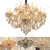 Cristal Chandelier Ash Cognac Amber Europa Estilo E14 para sala de estar sala de jantar Villa DHL
