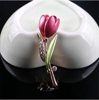 다이아몬드 꽃 튤립 브로치 핀 에나멜 브로치 코사지 옷깃 핀 결혼식 패션 쥬얼리 여성을위한 370197
