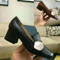 Klassische mittelhochhackige Bootsschuhe Designer Luxus Leder Beruf High Heels Schuhe runder Kopf Metallknopf Frau Abendschuhe Größe 34-42