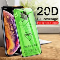 20D Curved Edge Full Cover Verre de protection sur le film de protection d'écran trempé pour iPhone 6S Plus pour X XR XS Film de verre Max