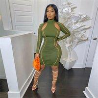 Frauen Deisgner Kleider Mode Langarm hohe Ansatz aushöhlen, figurbetontes Kleid beiläufige Frauen Designerkleidung