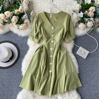 FMFSSOM Летние Весна V-образные вырезы Кнопки Одиночные сплошные оборки Женщины Женщина A-Line High Taif MIDI платье