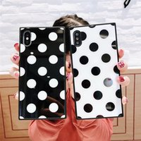 Square polka dot case glossy tpu pc case for iPhone x xr xs ...