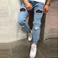 Hole Embroidered Jeans Slim trousers 2019 Casual Ripped Summ...