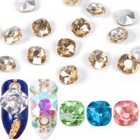 Cristales encantos del clavo 10pcs 3D Rhinestone AB Plaza Strass Piedra Champagne clavo de las gemas manicura de la decoración Accesorios Herramientas JI823
