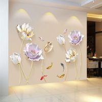 Estilo chinês flor 3d papel de parede adesivos de parede sala de estar quarto casa de banho casa decoração decoração poster elegante
