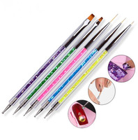 5pcs  set Nail Art Two Head Brushes Pens Pearl Handle For UV...