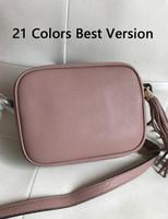 """21 الألوان أفضل نسخة اصلية جلدية سوهو ديسكو نسائية حقائب اللوحة الصغيرة 20CM الشرابة الصليب حقيبة الجسم السيدات كلاسيك """""""