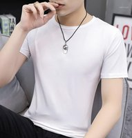 Optional Comfortable Male Clothing Ice Silk Fashion Mens Tshirt Solid Color Casual Loose Plus Mens Tops Multicolor