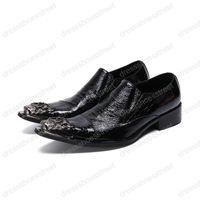 Серебристый металл острым носом Мужская обувь тренд ретро костюм Weding платье обувь Мужская мода мокасины скольжения на клуб бары Мужская обувь
