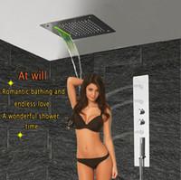 Badezimmer Dusche Panel mit Massagedüsen und LED-Deckenduschkopf Bad Thermostatbatterie Einhebelmischer Regen Wasserfall-Dusche-Hahn GF5326