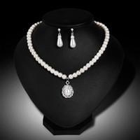 Капли воды искусственный жемчуг бисером горный хрусталь свадебное ожерелье серьги комплект ювелирных изделий горячий
