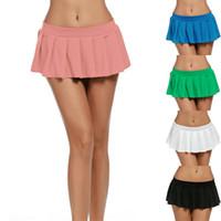 Le nuove donne sexy solido pieghe Gonne Minigonna Estate semplice allentato vita alta Gonne signora Girl partito del randello della Minigonna Plus Size
