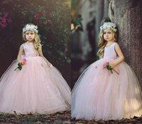 طويلة الأميرة الوردي الفتيات فساتين مهرجان اليدوية الزهور الدانتيل حافة رومانسية الاطفال حفلة عيد أثواب زهرة فتاة اللباس مخصص