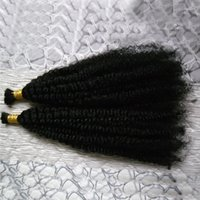 Монгольские курчавые вьющиеся волосы 2шт человеческих волос для плетения 200 г натуральных черных волос