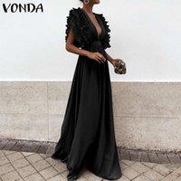 Party Sundress Beach Summer Dress Summer Dress V-Neck Butterfly Manica arruffata Maxi Dress Long 2020 Vonda Plus Size Vestidos Femininas S-5XL