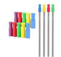 Punte di silicone di colori misti per cannucce in acciaio inox Prevenzione di collisioni dentali Coperture di cannucce Tubi di silicone Nave libera