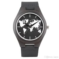 New Arrival World Map Dial Wood Watch for Men Black Genuine ...
