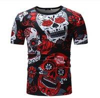 Новая мужская одежда для внешней торговли летом Футболка из чистого хлопка с короткими рукавами с круглым вырезом и 3D-принтом с изображением черепа