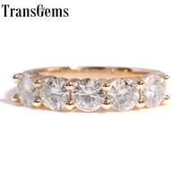 Transgems 1,25 Карат караты 4мм F Цвет Твердая 14k желтое золото 585 Половина Вечность обручальное кольцо Moissanite алмаз обручальное кольцо Y19032201