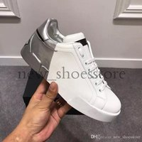 2019 Top Femmes Hommes Chaussures Hommes espadrille Chaussures de sport de luxe de Splicing Couleur Blanc à lacets en cuir Chaussures Party Dress Shoes