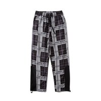 Mens lose beiläufige Hosen Designer Plaid Stitching Striped Print Straight Pants Mens lose Joker Pants kostenlos