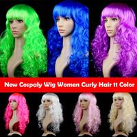 Color 11 de Cospaly partido de la peluca de fibra de Headwear de la onda grande de la Noche Rizado Cabello Peluca Cove Navidad Halloween mascarada COS