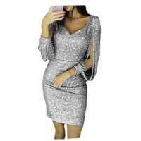 5 farben kleider frauen party nacht tiefem v-ausschnitt elegante pailletten mantel schlank dress quaste luxus temperament abendessen mini dress nz19.8-11