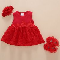 Neugeborene Baby Mädchen Infant Dressclothes Sommer Kinder Party Geburtstag Outfits 1-2Years Schuhe Set Taufkleid Baby